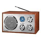 Victrola Wooden Desktop FM Radio with Bluetooth, Mahogany