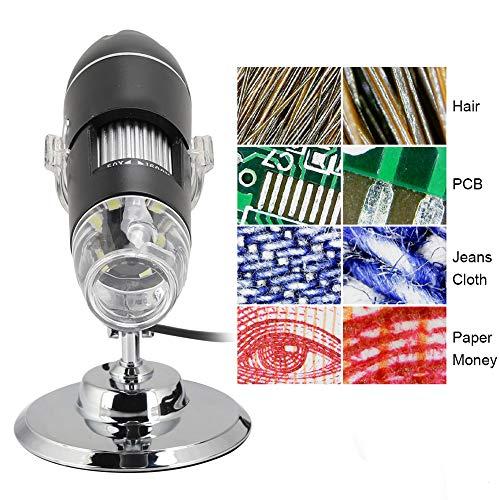Tosuny Cámara de Video USB con endoscopio de Aumento 1600x 2MP 1600x1200 con 8 LED, microscopio Digital USB 2.0 con Soporte de Metal, Compatible con Windows 2000/XP, Vista, 7/8/10