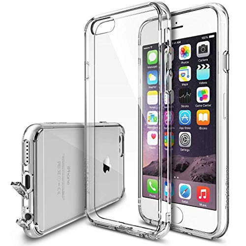 Ringke Fusion Compatible with iPhone 6S Case, Clear PC Back & TPU Bumper Drop Protection with Dust Caps for iPhone 6 - Clear