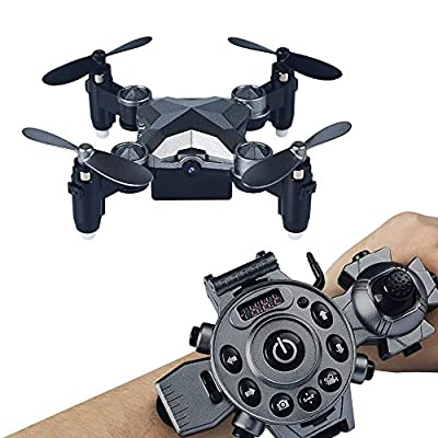 koiiko WiFi FPV Drone With Camera,Watch Style Remote Control Pocket Drone 4CH 4Axis 2.4G Portable Foldable Mini RC Quadcopter UFO For Kids Birthday Present Sliver