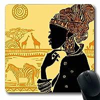 マウスパッド長方形7.9x9.8インチシルエットインドのカーペット人々に対する美しいアフリカ人女性美容ファッションモンゴロイド動物滑り止めゴムマウスパッドオフィスコンピューターラップトップゲームマット