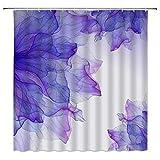 Aliyz Lila Blume Duschvorhänge Violett Abstrakte Blumen Kreative Badezimmer Gardinen Dekor Polyester Stoff Schnelltrocknend 72x72 Zoll Inklusive Haken