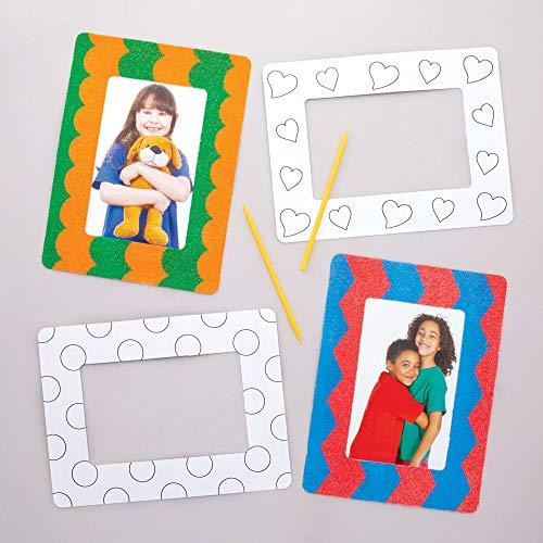 Baker Ross Sandkunst-Bilderrahmen (8 Stück) – Verschiedene Papprahmen für Kinder zum Verzieren und als Dekoidee
