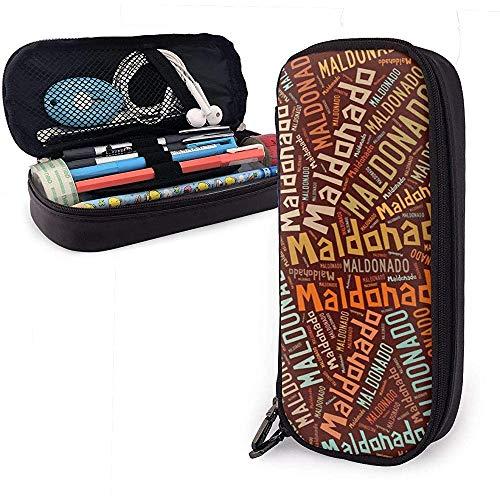 Maldonado - American Nachname Große Kapazität Leder Federmäppchen Stift Schreibwaren Halter Veranstalter Schule Filzstift Student Schreibwaren Tasche