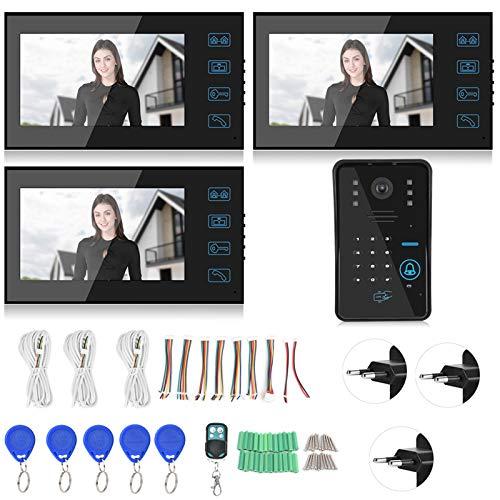 Videoportero, teléfono con intercomunicador, Escuela de visión Nocturna LCD a Color Resistente a la Intemperie de 7 Pulgadas para Oficina en casa(Transl)