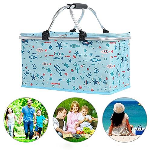 Cesta de picnic plegable grande, con aislamiento, bolsa de picnic plegable, diseño plegable para almacenamiento al aire libre, fácil para pícnic al aire libre, camping, fiestas familiares