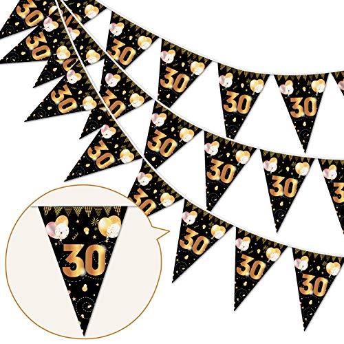 HOWAF 30 Decorazioni Compleanno Oro Nero, 30 Anni Anniversario Bandierine 30 Compleanno Striscione Triangolari Ghirlanda Decorazione di Festa Compleanno per Uomo Donna
