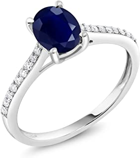 Gem Stone King 10K White Gold Blue Sapphire and Pave Diamond Engagement Solitaire Ring 8X6MM Oval Gemstone Birthstone 1.89 cttw (Available 5,6,7,8,9)