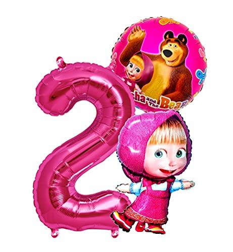 Mascha und der Bär Set Folienballon + Riesenzahl Zahl 2 Kindergeburtstag Geburtstag Mascha Mischa Folien Ballon Kinderparty Ballone Kinder Party Bär Ballon Deko (Zahl 2)
