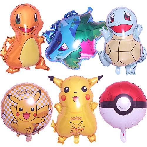 SZWL Globos de fiesta de Pokemon para niños, globos de papel de aluminio de Pokemon Pikachu, globo de fiesta de cumpleaños para suministros de decoración de fiesta de cumpleaños 6 piezas