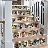 Plantas Verdes en macetas 3D Pegatinas de Escalera Impermeable Autoadhesivo Pegatina de Pared Vinilo Adhesivo Decorativo para Cuartos, Dormitorio,Cocina, 6Pcs