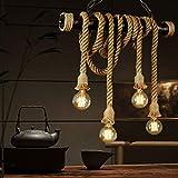 Lámpara de cuerda de cáñamo colgante Luz de techo hierro industrial retro E27 Vintage Loft Lámpara de techo Araña Rústico Cáñamo Cuerda Candelabro de hierro Colgante redondo Luz colgante de jaula