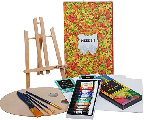 MEEDEN 22 Pcs Acrylic Painting Set with 11.8'' Tabletop Easel, 12 Colors Acrylic Paints, 3 Canvas Panels, 5 Paint Brushes & Wooden Palette, Perfect Gift for Kids & Beginner Artist