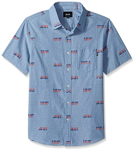 HUF Men's 1984 Chambray Short Sleeve Shirt, Blue, 2XL