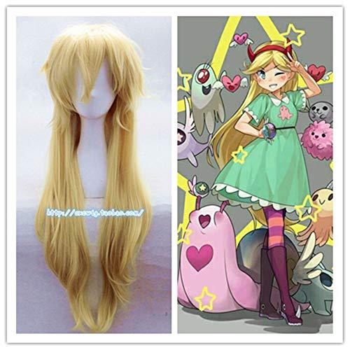 Cartoon Movie Star vs.The Forces of Evil Princess Star Butterfly Cosplay Peluca Mujer Star Butterfly Role Play Peluca de pelo largo
