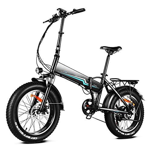 Winice Bici Elettrica Pieghevole Donna Uomo 20 * 4.0 Pollici Fat Bike Bicicletta Elettrica 500W, 48V 10.4AH Batteria Rimovibile, Shimano 7 Velocità Ebike Città Mtb Elettrica (Nero)