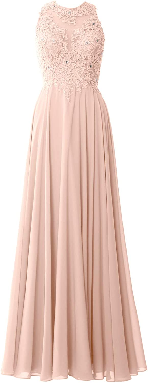MACloth Women Lace Wedding Party Formal Evening Gown Sleeveless Long Prom Dress