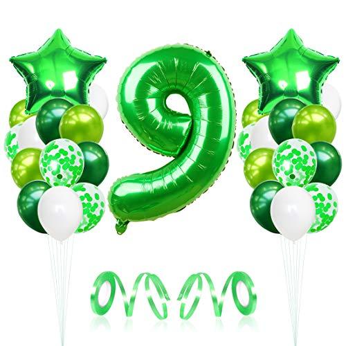 9 Globos de Cumpleaños, Globo 9 Año, Globo Numero 9, Decoracion Cumpleaños Niño, Globos Grandes Gigantes Helio Verde, Globos para Fiestas de Cumpleaños