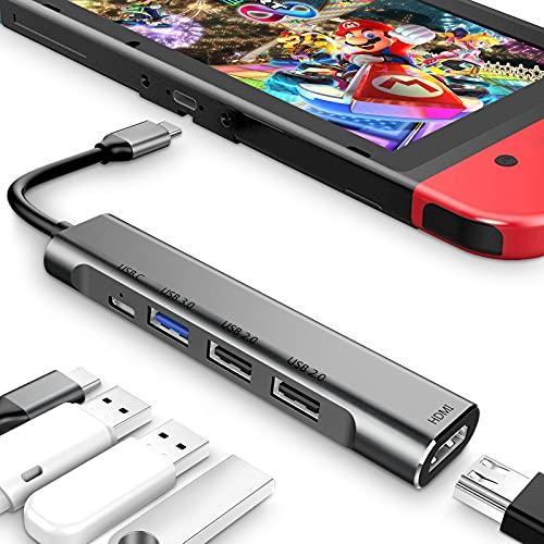 Typ C Multiport Hub, 5 in 1 USB C Hub mit USB3.0, 2X USB2.0, 100W PD Aufladung, 4K HDMI, tragbarem Dock USB C Adapter kompatibel mit Samsung Galaxy S21/S20/Huawei P40 Pro/MacBook Pro/Air/iPad Pro