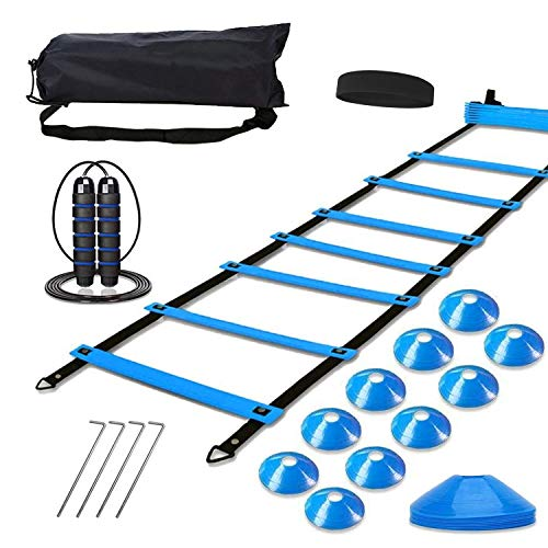 Speed Agility Training Set, Includes 1 Agility Ladder, 4 Steel Stakes, 1 Sports Headband, 1 Jump Rope, 10 Disc Cones and Gym Carry Bag - Speed Training Equipment for Soccer Football Basketball