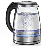 Elemore Home Electric Kettle, 1.7L Glass Electric Tea Kettle (BPA Free) Cordless, Fast Boiling & Portable Water Boiler with Auto Shut-off & Boil-Dry Protection, Stainless Steel Lid and Bottom-Metal