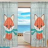 Happy Holidays for Living Comedor Dormitorio 137 x 192 cm Cortinas transparentes para ventana, panel moderno de tratamiento de ventana, 2 piezas decoración del hogar