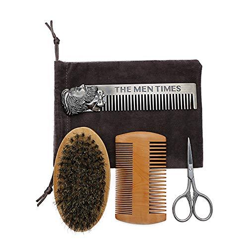 CVBN Juego de peines para Barba Aceite para Barba Doble Forma de Cabeza Peine para Barba Cuidado del Cepillo Aceite para Barba
