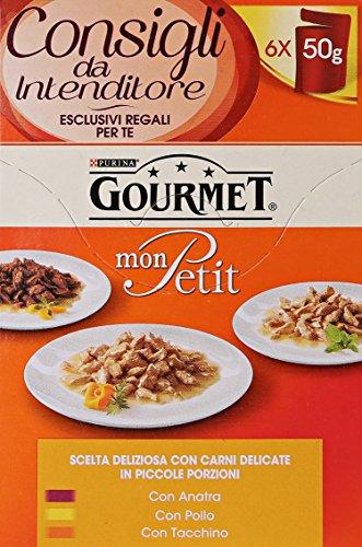 Gourmet Mon Petit, Cibo per Gatti, Piccole Porzioni in 3 Gusti (Anatra, Pollo, Tacchino) - 8 confezioni da 6 pezzi da 50 g [48 pezzi, 2400 g]