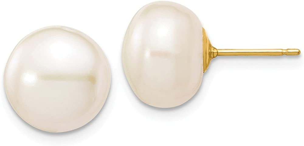 Solid 14k Yellow Gold 10-11mm White Button FW Cultured Pearl Stud Earrings