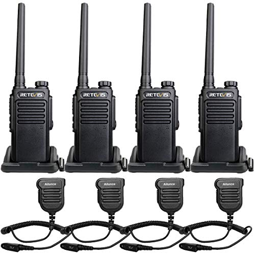 Retevis RT47 2 Way Radios UHF VOX Waterproof Encryption Scan with Speaker Mic Channel Lock Walkie-Talkies Hiking Hunting Cruise Ship Outdoor (4 Pack)