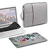 GMYLE MacBook Pro 15 Case 2018 2017 2016 Release A1990/A1707 Touch Bar, Plastic Hard Shell & Keyboard Cover & 15 inch Carrying Sleeve Bag Compatible Newest Mac Pro 15 Inch - Springtime Floral Garden