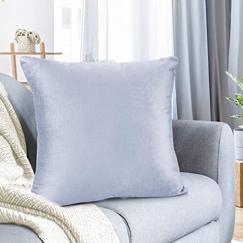 Nestl Bedding Solid Microfiber Velvet 24' x 24' Throw Pillow Cover, Ice Blue