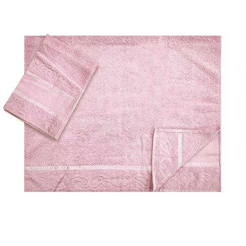 Panini Textilien, Set / Paar von Handtücher, groß und klein Aida-Stoff 9 cm für Stickerei, 100% Baumwolle, Made in Italy - Gästetücher, Handtücher fürs Badezimmer