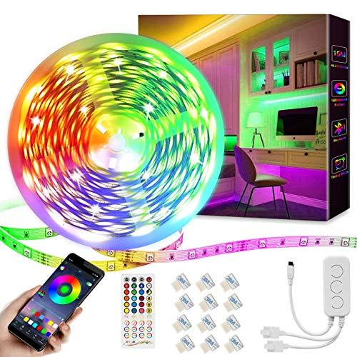 15M Led Streifen,Dimmbar RGB LED Band,Ultralang Bluetooth LED Strip 5050 SMD Lichtband Selbstklebend LED Lichtleiste Sync zur Musik,Über APP-Steuerung und Fernbedienung Für Haus,Garten(1 * 15M)