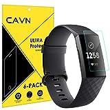 CAVN Schermo Compatibile con Fitbit Charge 3 /Charge 4 Pellicola Protettiva [6-Pezzi], in Vetro temperato Protegge Lo Schermo Smart Watch, AntiGraffio, Anti-Bolle per Charge 3 /Charge 4