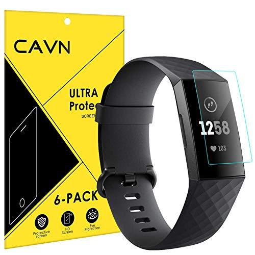 CAVN Schutzfolie Kompatibel mit Fitbit Charge 3 /Charge 4 Schutzfolie (6 Stück), HD Superdünn Volle Abdeckung Flexibel Bildschirmschutzfolie Anti-Kratzer HD Clarity Schutz Folie für Charge 3 und Charge 4