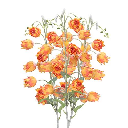 HUAESIN 3pcs Flores Artificiales Largas Decoración Jarrones, 88cm Flor Naranja Artificial Campanula...
