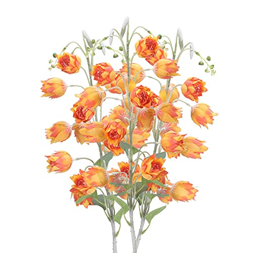 HUAESIN 3pcs Flores Artificiales Largas Decoración Jarrones, 88cm Flor Naranja Artificial Campanula Simulacion Flores de...