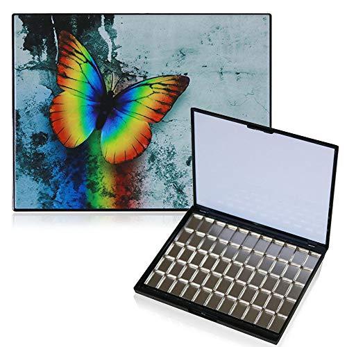 FCLUB Empty Magnetic Watercolor Palette Folding Paint Case - Portable Plastic Paint Palette with 55pcs Rectangle Metal Pans and 1 Big Mixing Area