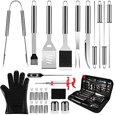 25 in 1 Grilling Accessories BBQ Grill Tools Set, 25Pcs Stainless Steel Grilling Kit Gift for Smoker, Camping, Kitchen, Backyard Barbecue for Men Women with Carry Case Bag Thermometer Grill Mats