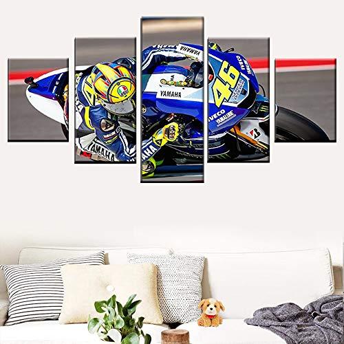 DGGDVP Wandkunst HD-Druck Bild Retro Home Decoration 5 Panel Motorradrennen gemalt auf Leinwand Poster Größe 2 mit Rahmen