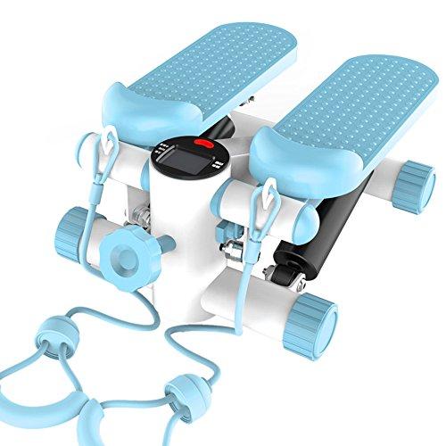 STEXH Stepper mit Power Ropes Stepper Schritt Maschine Home Mute Gewichtsverlust Maschine in situ Bergsteigen Pedal Maschine Multi-Funktion Geräte Mini Pedal Maschine Slim Legs Fitnessgeräte Up-Down-Stepper mit Multifunktions-Display,Blue
