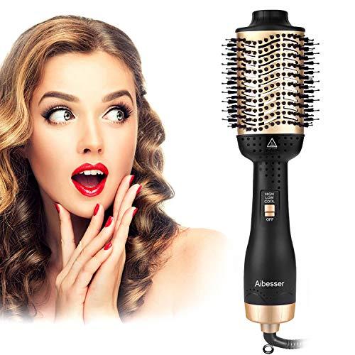 Aibesser Haartrockner Warmluftbürste, 5 In 1 Upgrade Warmluftbürste Hair Dryer Volumizer Styler Heißluftbürste Negativer Ionen Föhnbürste Stylingbürsten Bürste Heißluftkamm Föhn Für Alle Styling