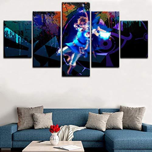Angel&H 5 Paneles Moderno Mural Decorativo Legend of Zelda Breath of The Wild Modular Imágenes Lona Impresión Juego Pinturas Casa Decorativo,B,20x30x2+20x50x1+20x40x2