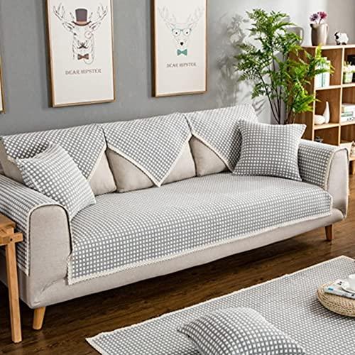 HZYDD Cubiertas de sofás, Tela Simple Sofá Moderno Significador Otoño Invierno Sin Deslizamiento Lino Sólido Color Sólido Sofá Protector Muebles 1pc-g 24 * 24in