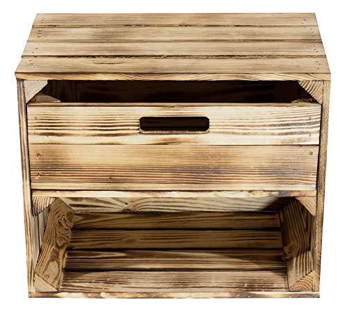 Kontorei® geflammte/verbrannte Kiste mit Schublade und Fach 50cm x 40cm x 30cm 1er Set Regal Holzkiste Obstkiste