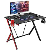 Mr IRONSTONE 31.5' Gaming Desk PC Computer Desk Home Office Student Table for Small Space with Cup Holder, Headphone Holder & Cable Management Holes (Red)