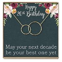 20歳の誕生日ギフトネックレス:誕生日プレゼント、2十年、彼女へのジュエリーギフト、2つのインターロックサークル