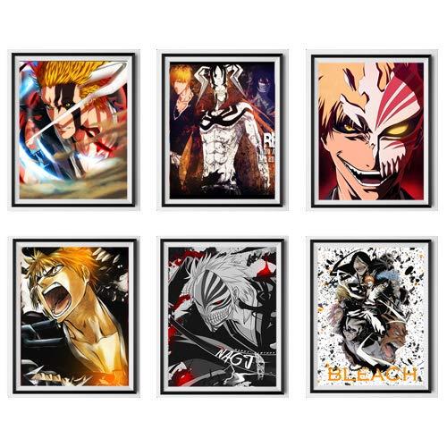 Bleach Original Anime Kunstdrucke Demon Mater Hollow Mask Mode Ichigo Illustration Stoff Papier Poster Wandkunst für Kinder Schlafzimmer Dekoration, 20,3 x 25,4 cm, kein Rahmen, 6er-Set