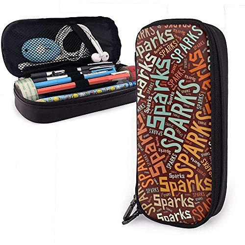 Sparks American Cognome Astuccio portamatite in pelle di grande capacità Portamatite Portamonete Scatola portaoggetti grande Borsa per ufficio con penne per ufficio